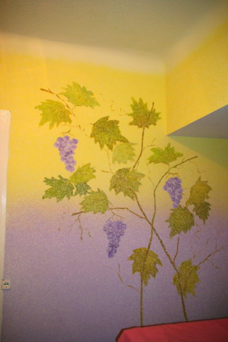 Рисунки жидкими обоями декорируем стены 63